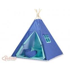 Dětský stan TÝPÍ s oboustrannou dekou (bez polštářků) - hvězdy na tmavě modrém + tyrkys