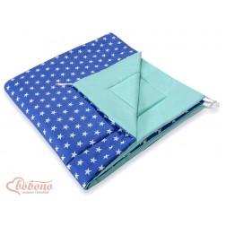 Oboustranná deka do stanu TÝPÍ - hvězdy na modrém a mátová