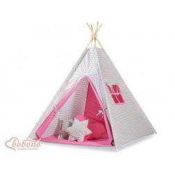 Dětský stan TÝPÍ (bez deky na podlaze a bez polštářků) - šedé kárko + růžová