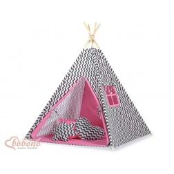 Dětský stan TÝPÍ s oboustrannou dekou (bez polštářků)- CIKCAK černá + růžová