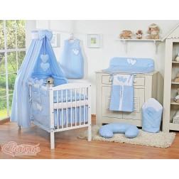 Dětská postýlka kompletní výbava SRDÍČKA nebesa bavlna - modrá
