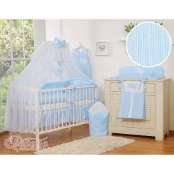 Dětská postýlka kompletní výbava SRDÍČKA moskytiéra - proužky modré