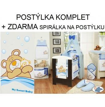 Dětská postýlka kompletní výbava MÉĎA BARNABÁŠ moskytiéra + krátký mantinel - modrá