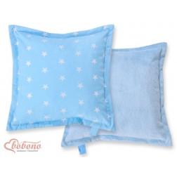 Oboustranný polštářek MINKI- hvězdy na modrém