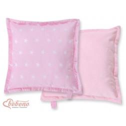 Oboustranný polštářek MINKI- hvězdy na růžovém