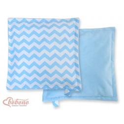 Oboustranný polštářek MINKI- CIKCAK modrý + modrý plyš