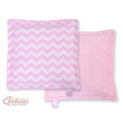 Oboustranný polštářek MINKI- CIKCAK růžový + růžový plyš