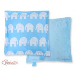 Oboustranný polštářek MINKI- SLONI na modrém