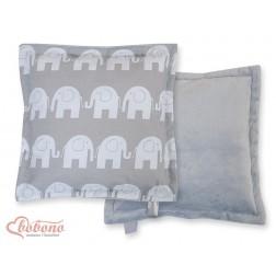 Oboustranný polštářek MINKI- SLONI na šedém