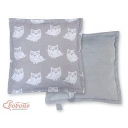 Oboustranný polštářek MINKI- SOVY na šedém
