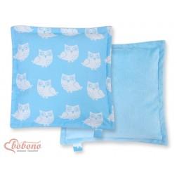 Oboustranný polštářek MINKI- SOVY na modrém