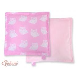 Oboustranný polštářek MINKI- SOVY na růžovém