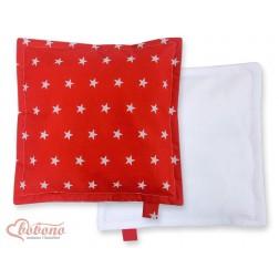 Oboustranný polštářek MINKI- hvězdy na červeném